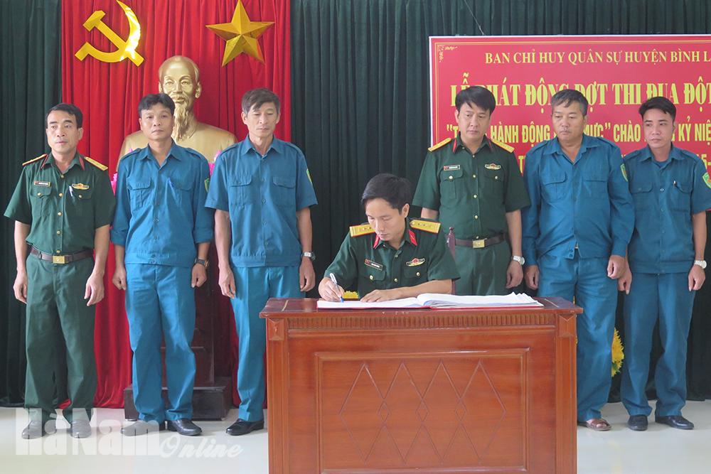 Ban CHQS huyện Bình Lục phát động đợt thi đua đột kích Tháng hành động kiểu mẫu