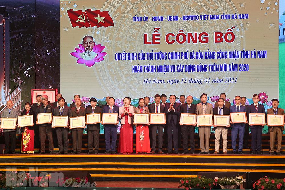Lễ công bố Quyết định của Thủ tướng Chính phủ và đón Bằng công nhận tỉnh Hà Nam hoàn thành nhiệm vụ xây dựng NTM năm 2020